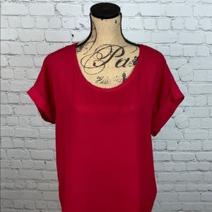 Pleione Short Sleeve Red Blouse Size L